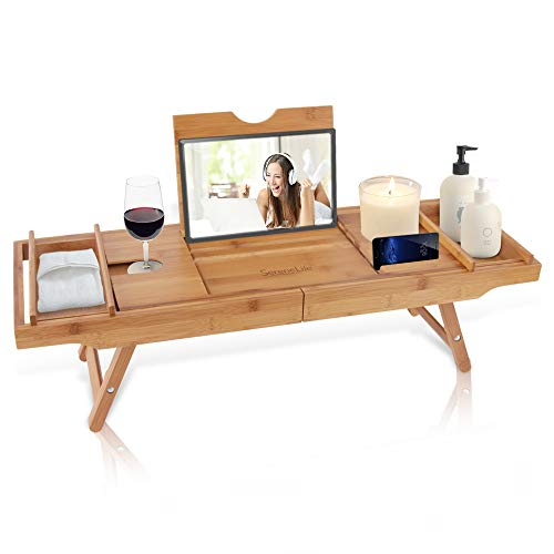 Bath Caddy Combination Breakfast Tray - Natural Bamboo Wood Waterproof Shower Bathtub and Bed Tray with Folding Slide-Out Arms, Device Grooves, Wine Glass and Soap Holder Multipurpose Use - SLBCAD50 - Glass Wood Bed