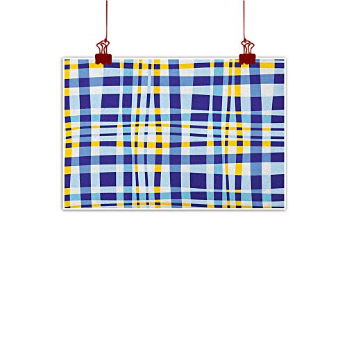 (Wall Art Painting Print Yellow and Blue,Retro Scottish Checkered Tartan with Color Stripes Lines Pattern, Pale and Violet Blue 32