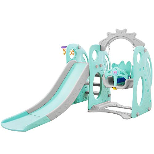 Genivation Indoor First Slide for Kids Outdoor Play Swing Slide Set Backyard Indoor Swing Set Toddlers Climber Playset (Rabbit_Green)