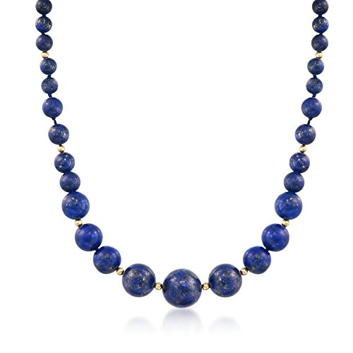 - Ross-Simons 6-13mm Lapis Bead Graduated Necklace With 14kt Yellow Gold