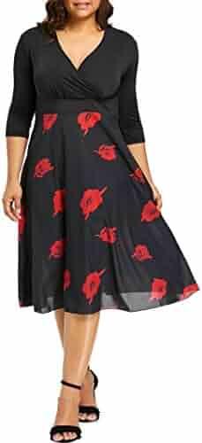 6ad294a78b2 Beautyfine Women Midi Chiffon Dresses,V Neck Wrap 3/4 Sleeve Prom Dress Plus