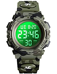 eYotto Kids Sports Watch, Boys Camouflage Military Digital Wristwatches Outdoor Waterproof LED 7 Colorful Alarm Stopwatch