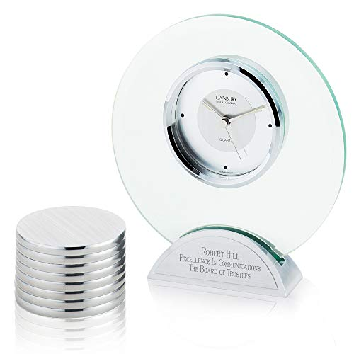 - Things Remembered Personalized Round Glass Clock and Paperweight with Engraving Included