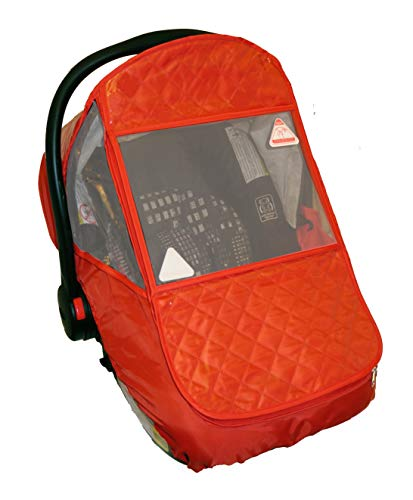 Amazon.com : Universal Infant Car Seat Cover/Weather Shield, Quilted Waterproofed Fabric, UV-Protection, Large Zipped Window (Red) : Baby