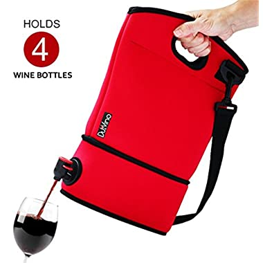 DuVino BAG IT! Neoprene Wine Purse - BYOB Wine Tote Carrier - Incl. 2 Baggies w/Spout - Holds 4 Bottles of Wine. Great Wine Gifts for Women or Her! Wine to Go Made Easy! (Red)