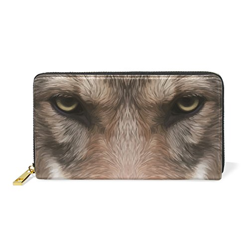 Wallets Wolf Purse Long Womens Clutch Funny Head Halloween Leather Moon Handbags Zip Genuine Wolf wS7nqx4X