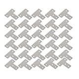 WEBI Heavy Duty Stainless Steel Corner Braces,T Shape Brackets, Joint Fastener, Shelf Support for Wood Furniture, Chests, Screens, Windows, Brushed Finish,30 Pcs,PMJM-T-40X40