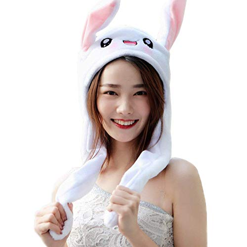 QTMY Cute Movable Dancing Bunny Rabbit Ear Hat Headwear& Funny Plush Push Toy for Kids Adult Halloween Party Costume