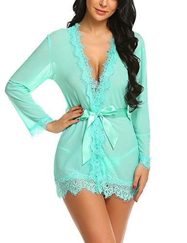 Avidlove Women's Lace Kimono Robe Babydoll Lingerie Mesh Nightgown Cover Up Green