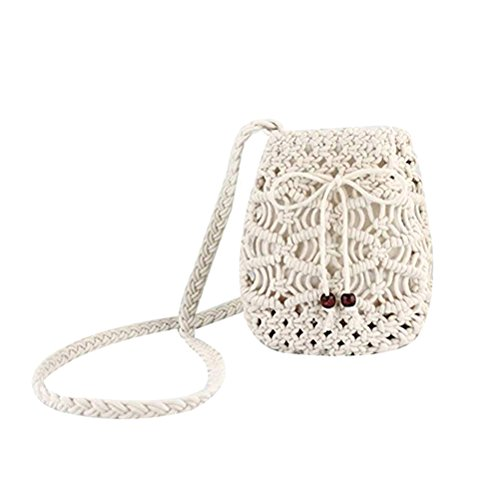 Abuyall Women Small Straw Bag Bowknot Bucket Summer Mini Purse Shoulder Bags A