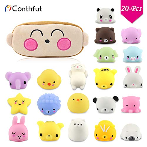 Conthfut Squishy Toys, Kawaii Monkey Carrying Bag Package of Mini Variety Animals Squishies Case 20-Pcs for Girls + Boys Party Favor Birthday Present