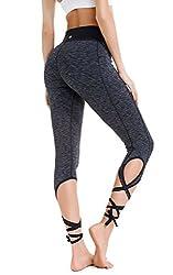 Queenie Ke Women's Yoga Pant Legging Capris String-end Workout Dance Pants Size M Color Black Grey Melange