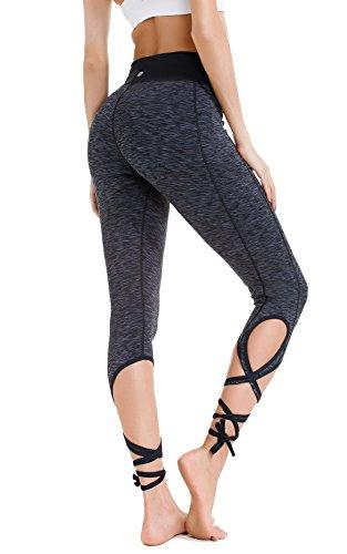 Queenie Ke Women's Yoga Pant Legging Capris String-End Workout Dance Pants Size XL Color Black Grey Melange