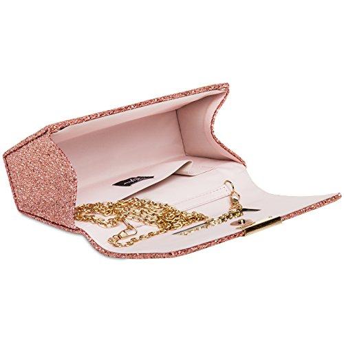 femme Élégant clutch TA342 paillettes à CASPAR pour Rose petit wqtd5Wx0