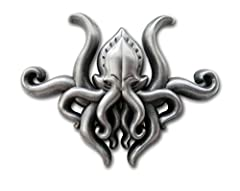 All Hail Cthulhu! This pin is made from an original hand-carved mold, cast in high quality Zinc metal, and plated in an antique silver-colored finish.
