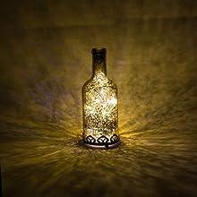 Home&Decorations FX23628G Farol de vidrio LED decorativo en forma de botella – Farolillo para bodas, cumpleaños, fiestas, cenas – Color dorado vintage. 28 cm de altura.