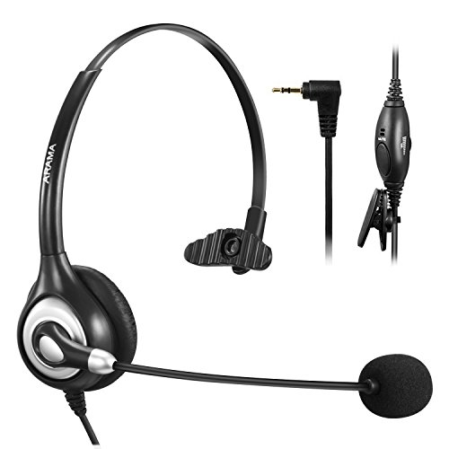 Arama Cordless Phone Headset, 2.5MM Telephone Headset with Noise Cancelling Boom Mic for Panasonic Polycom Grandstream Cisco Linksys SPA Zultys Gigaset and Other Dect Phones