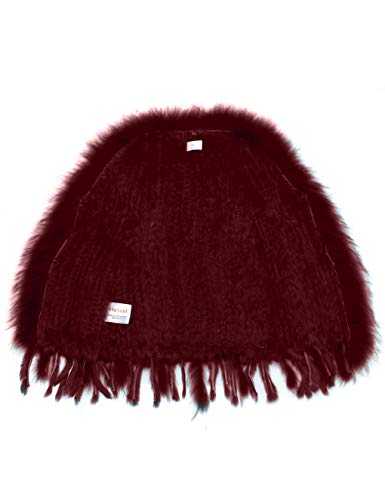 coniglio Elegante pelliccia con collo 100 Raccoon Borgogna maglia del della Soft in HEIZZI Uqwx6OTc
