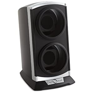 Diplomat Double Metallic Silver / Black Watch Winder with Built In IC Timer