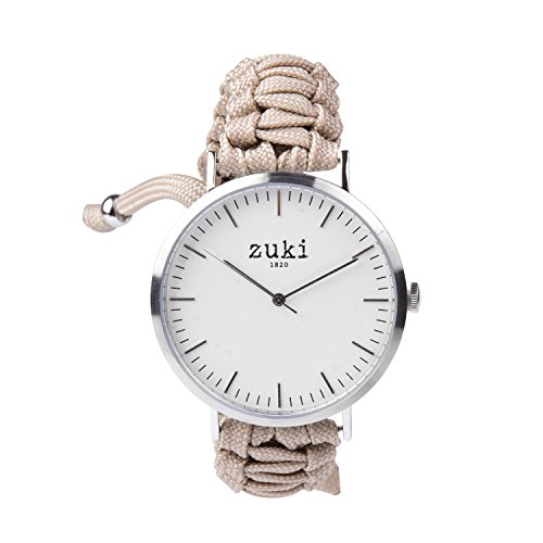 Handcrafted Watch with Beige Paracord Bracelet Band - Swiss Quartz Movement - Men's and Women's - Casual and Fashion Wristwatch - Brushed Silver with White - By zuki ()