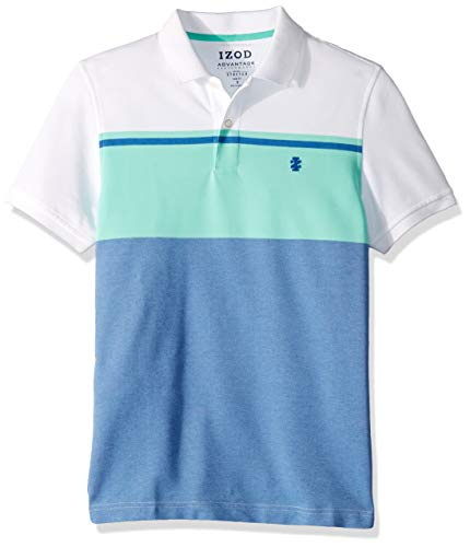 IZOD Men's Slim Fit Advantage Performance Short Sleeve Colorblock Polo, Florida Keys, Medium ()