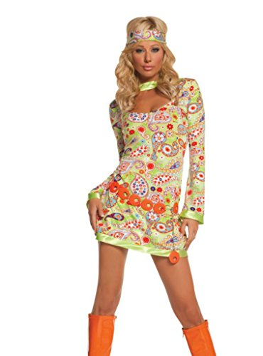 Groovy Chick Costume (Elegant Moments Womens Groovy Chick Retro Outfit Fancy Dress Sexy Costume, L (10-14))