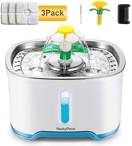 NautyPaws Cat Water Dispenser, LED Pet Fountain Stainless Steel Automatic Drinking Water Dispenser with 3 Replacement Filters for Dogs, Cats and Small Animals