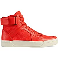 cba72093142 Gucci Men s Coral Red Nylon Leather GG Guccissima High Top Sneakers Shoes