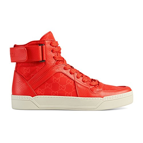 Gucci Men's Coral Red Nylon Leather GG Guccissima High Top Sneakers Shoes, Red, - Gucci Red