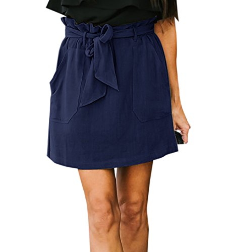 JackenLOVE t Femme Jupe avec Bandage Fashion Couleur Unie Taille Haute Jupes de Fte Soire Casual Court Jupe de Plage Bleu Fonc