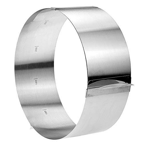 Stephenie Mousse Cake Ring Adjustable ( 6 to 12 inch ) - Stainless Steel - Build Layers While Keeping a Nice Shape - Mold for Cheesecakes Desserts