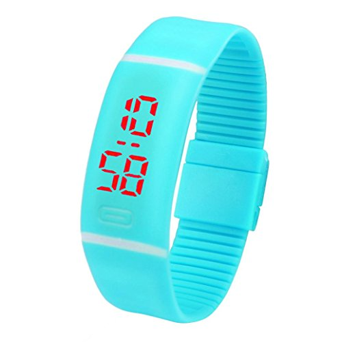 Voberry® Mens Womens Rubber LED Watch Date Sports Bracelet Digital Wrist Watch (Sky Blue)