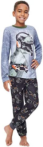 Jellifish Kids Boys 2 Piece Pajama Sleep Set, Cuffed Pant, All Over Print, Long Sleeve Top