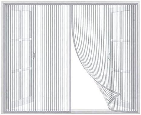 Magnetica Corredera Cortina 190x195cm, Mosquitera Puertas, Cerrado automáticamente Plegable Protección contra Insectos, para Ventanas Batientes, Blanco