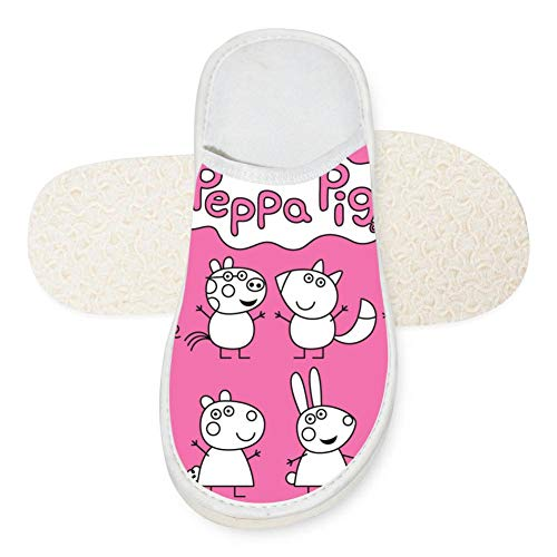 SlindFun House Slippers Pep-pa Pig Unisex Autumn Winter Warm Indoor Slip Shoes White -