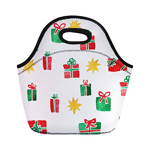 d4915ea68a99 Semtomn Lunch Bags Colorful Beautiful Various Christmas Presents in Red and  Green Neoprene Lunch Bag Lunchbox Tote Bag Portable Picnic Bag Cooler Bag