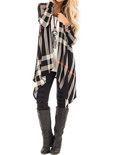 AYIYO Women's Autumn Grid Printed Black White Long Sleeves Long Cardigan (M, Black)