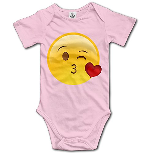 (Custom Emoji Kiss Face Baby Girl And Boy Climbing Cartoon Short Sleeve Shirt Pink [ - 24)