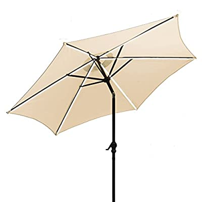 AOODA 9 ft LED Lighted Patio Umbrella LED Solar Power Table Market Umbrella LED Waterproof Strip, with Tilt Adjustment and Crank Lift System, Perfect for Outdoors, Patio, or Any Parties (Beige) - AOODA 9 ft LED lighted patio umbrella add a festive mood to any occasion, perfect for any patio or party setting;NOTE: The solar power panel needs be charged for 8 hrs in the sun to gain the enough energy to charge the LED lights during the night; And the on-and-off switch also needs be turned off in the daytime 9 ft solar patio umbrella has a LED waterproof strip on each rib, 6 aluminum rib construction, On and Off switch for umbrella solar light, which runs 6-7 hours (10,000 hours of usage) Hassle-free setup & storage; Featured a classic crank handle with adjustable tilt function, AOODA patio umbrella gives more coverage and cool air, ideal for outdoor 4-6 seats patio table - shades-parasols, patio-furniture, patio - 41QdSTtnubL. SS400  -