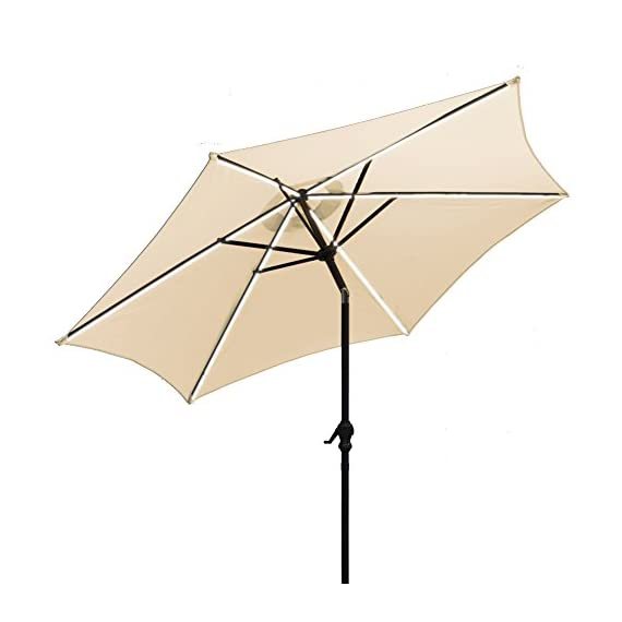 AOODA 9 ft LED Lighted Patio Umbrella LED Solar Power Table Market Umbrella LED Waterproof Strip, with Tilt Adjustment and Crank Lift System, Perfect for Outdoors, Patio, or Any Parties (Beige) - AOODA 9 ft LED lighted patio umbrella add a festive mood to any occasion, perfect for any patio or party setting;NOTE: The solar power panel needs be charged for 8 hrs in the sun to gain the enough energy to charge the LED lights during the night; And the on-and-off switch also needs be turned off in the daytime 9 ft solar patio umbrella has a LED waterproof strip on each rib, 6 aluminum rib construction, On and Off switch for umbrella solar light, which runs 6-7 hours (10,000 hours of usage) Hassle-free setup & storage; Featured a classic crank handle with adjustable tilt function, AOODA patio umbrella gives more coverage and cool air, ideal for outdoor 4-6 seats patio table - shades-parasols, patio-furniture, patio - 41QdSTtnubL. SS570  -