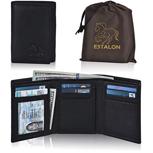 Black Pebble Leather - Slim Leather RFID Trifold for Men - RFID Blocking Genuine Leather wallet 7 Card Holder With ID Window (Black Pebble Dustbag Left ID)