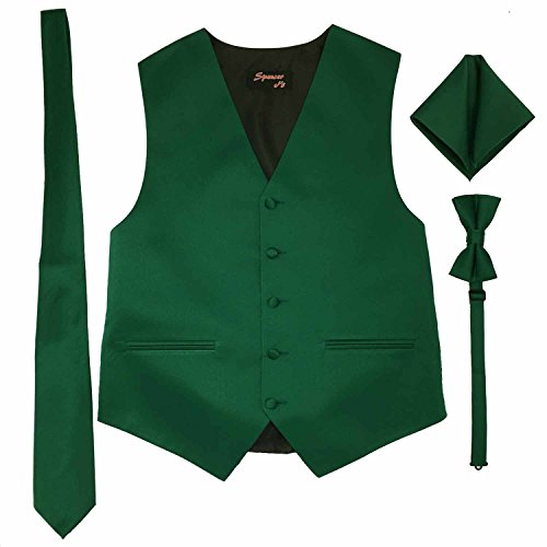 Spencer J's Men's Formal Tuxedo Suit Vest Tie Bowtie and Pocket Square 4 Peice Set Verity of Colors (S (Coat Size 35-37), Forest/Emrald) ()