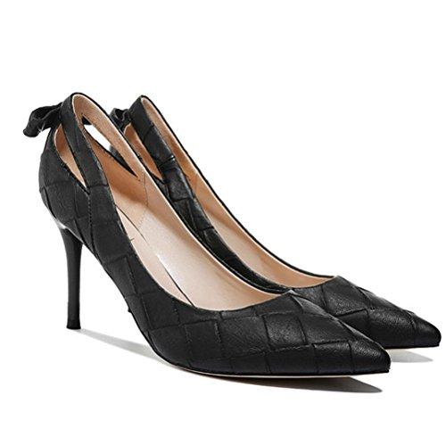 Chaussures Femme Mode De Sexy Haute Noir Travail Bow UK Mariage Professionnel Discothèque Travail 2 Partie Talons Chaussures 34 Black Cour 8cm tqnrq0