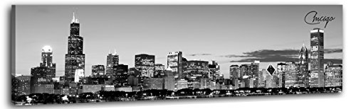 DJSYLIFE Chicago Skyline Wall Art - Black and White Modern Panoramic Cityscape Picture Painting Bedroom Office Living Room Kitchen Home Decoration - Ready to Hang 13.8