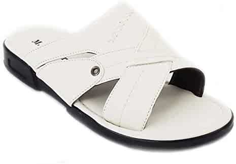 121d4d49049bf8 M. Brother New Fashion Mens Shoes Casual Slides Comfort Flat Open Toe  Sandals White