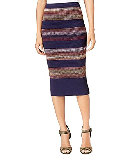 (RACHEL Rachel Roy Striped Textured Pencil Skirt (Navy Combo, L))