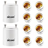 DiCUNO GU24 to E26 E27 Adapter, Light Bulb Socket Adaptor, Lamp Base Converter, Maximum Wattage 200W, Heat Resistant up to 160°C, Fire Resistant (10-Pack)