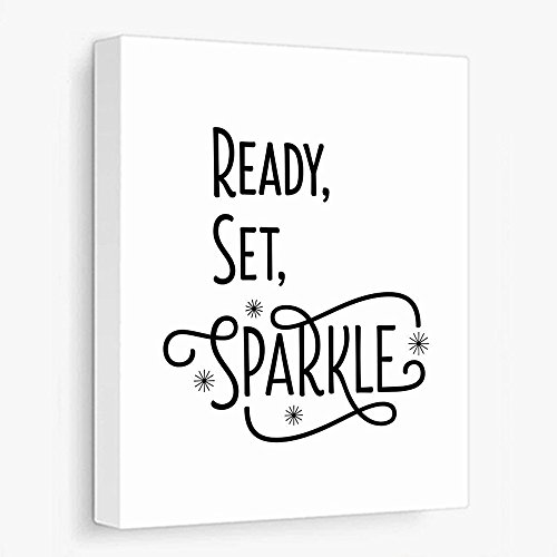 Canvas Typography Poster Ready Set Sparkle Inspirational Message Many Sizes