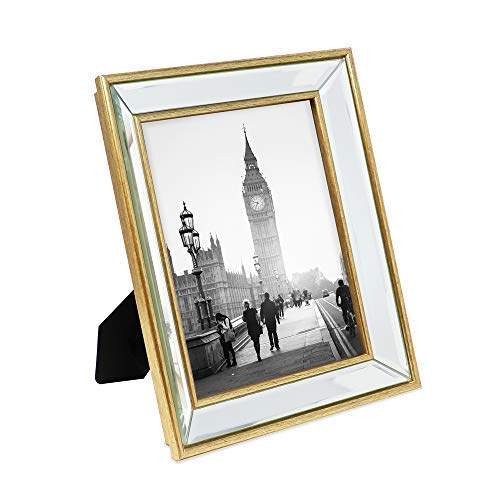 Isaac Jacobs 8x10 Gold Beveled Mirror Picture Frame - Classic Mirrored Frame with Deep Slanted Angle Made for Wall Décor Display, Photo Gallery and Wall Art (8x10, Gold)
