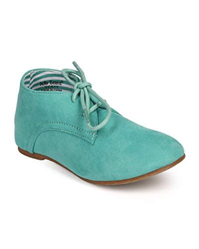 Suede Round Toe Lace Up Classic Ankle Oxford Flat (Toddler/Little Girl/Big Girl) DG66 - Sea Green (Size: Toddler 10)